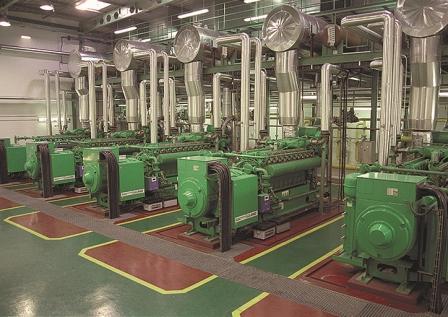 Машинный зал с газопоршневыми энергетическими установками