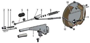 Детали привода стояночного тормоза: 1 - рычаг; 2-кнопка; 3 - пружина тяги; 4 - тяга защелки; 5- чехол; 6...
